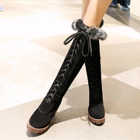 Sıcak Satış boy 34-43 gündelik dantel kadar tıknaz topuk kürk çizmeler kadınların uzun boylu diz yüksek çizmeler lüks tasarımcı çizmeler