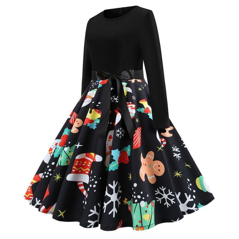 8c6e76fa41 ... New Winter Christmas Dresses Women Vintage Robe Swing Pinup Elegant  Party Dress Long Sleeve Casual Plus ...