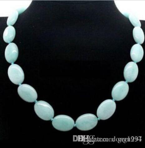 Jolie! 13x18mm naturel Gemstone ovale plat collier de perles 18inch