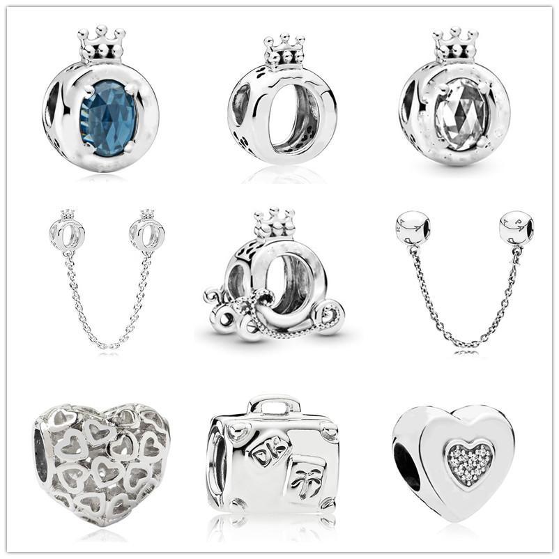 شحن مجاني موك 20PCS الفضة الأبيض الظلام التاج الأزرق سحر القلب الخرزة الأصل باندورا سوار مجوهرات DIY للنساء J004