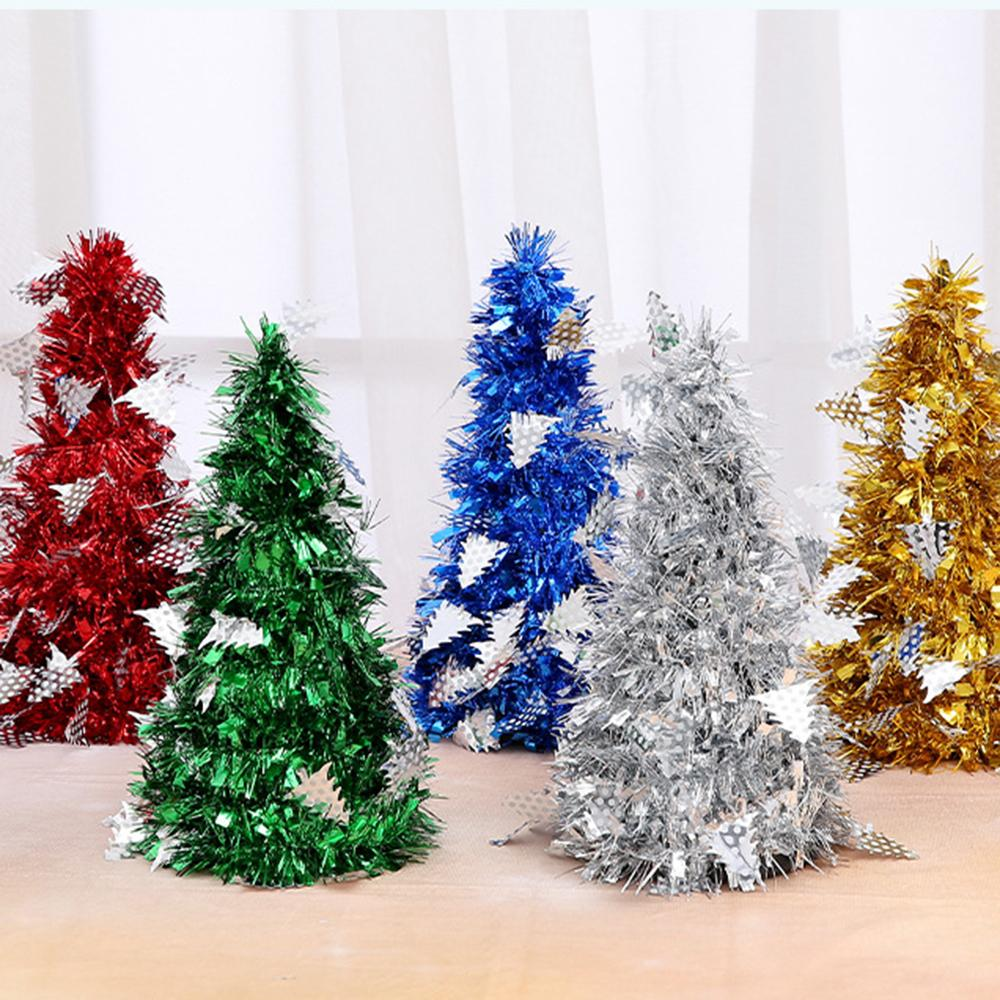 27cm Mini Christmas Tree Sisal Silk Cedar Decoration Small Christmas Tree Gold Silver Blue Green White Mini Deco Christmas Decorations Decor Christmas