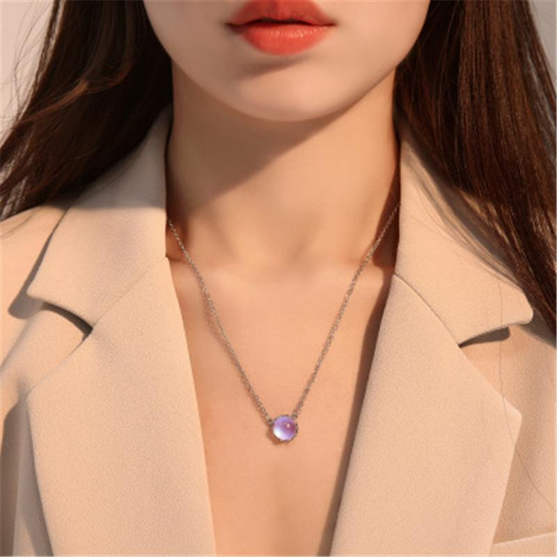 New Fashion Wild Jewelry Beautiful Moonstone Necklace Round Blue Gradient Necklace Simple Sweet Clavicle Chain Girlfriend Gift