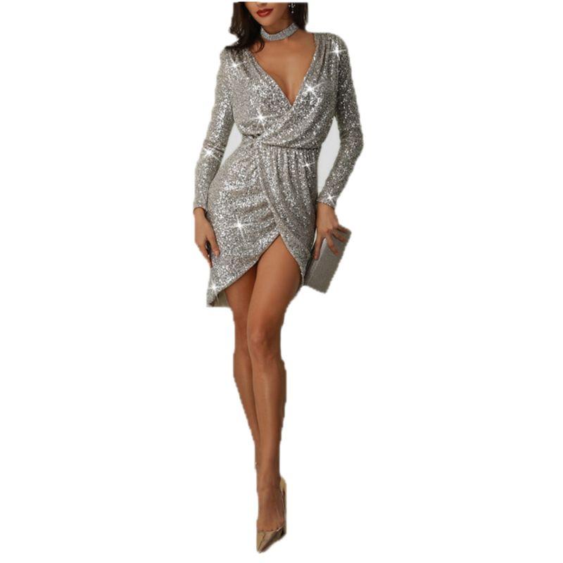 suche nach echtem Großhandelsverkauf Farbbrillanz Großhandel Silber V Ausschnitt Sexy Party Kleid Frauen Weibliche Kleidung  Elegante Formale Aufgeteilte Pailletten Kleider Von Wearbeauty, $34.82 Auf  ...