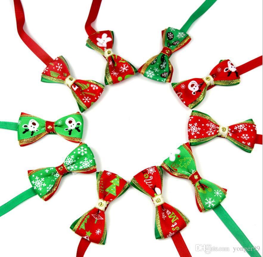 filhote de cachorro animal de estimação novo flocos de neve da árvore de Natal do cão do gato gravata borboleta colar colar bowknot gravata grooming para pet decoração fornecedor Costume