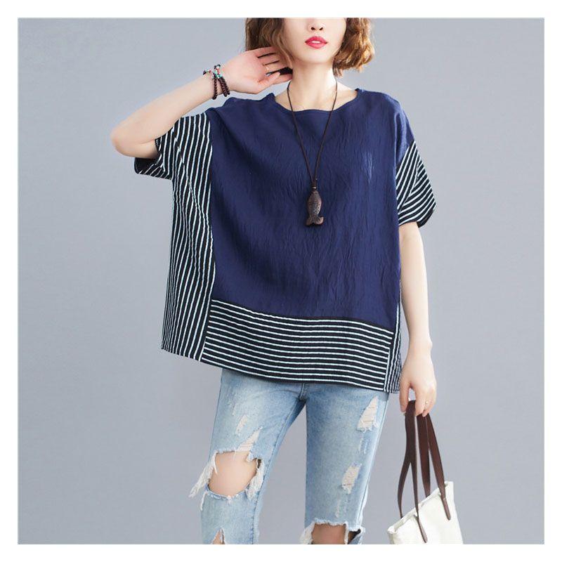 2020 nouvelles femmes en tête de vêtements pour femmes T-shirt manches chauve-souris épissures bande vêtements T-shirt loose pour T-shirt en lin coton femme