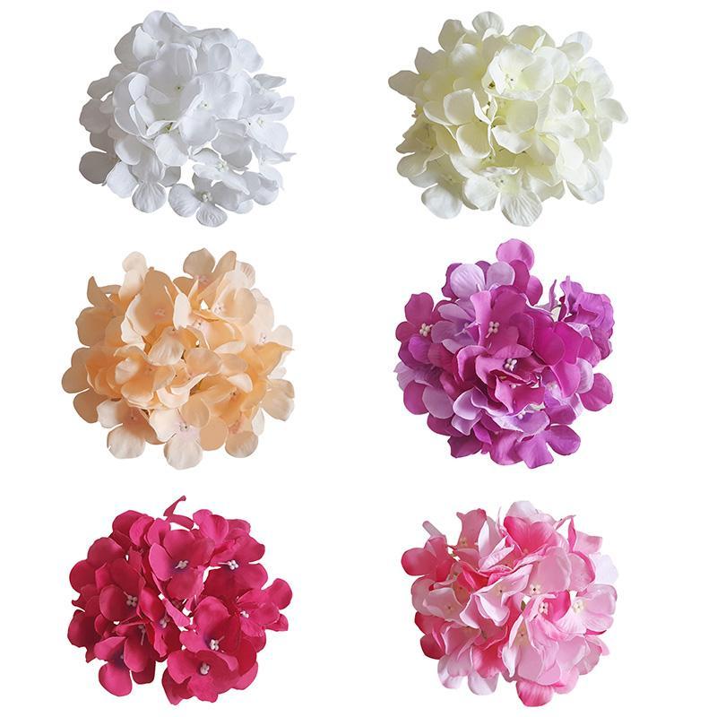 """수국 헤드 50 조각 6 """"수국이있는 줄기가 가짜 꽃 DIY 홈 장식을 위해 장식"""