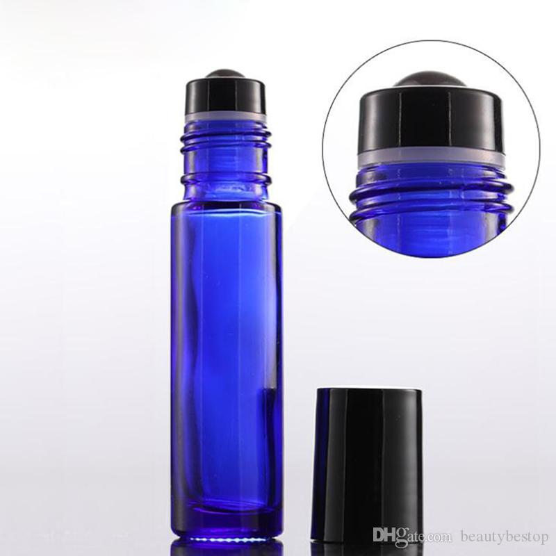 Wholesale Thick 10ml Glass Roll on Bottles Amber Blue Clear Empty roller ball perfume bottles With Black Lids Free Shipping 1000pcs/lot