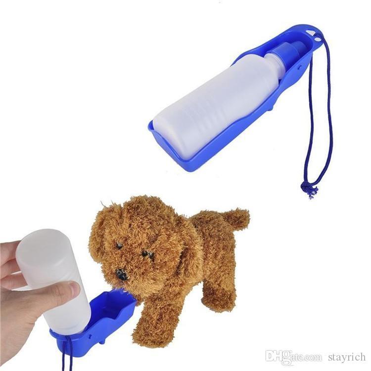 Nouveau 3 couleur 250ml Chien Chat bouteille de boisson d'alimentation Distributeur d'eau d'alimentation portable pliable en plastique Voyage Bowl Voyage Pet Wate