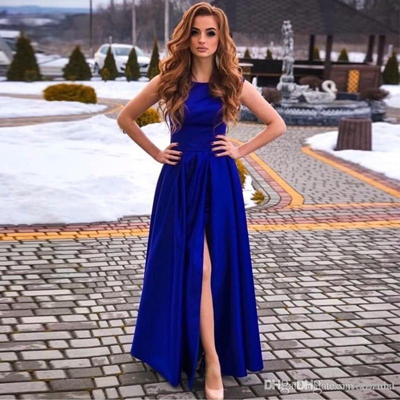 Barato atractivo azul real vestido de fiesta lado alto de Split simple cuello de la joya vestidos de noche Prom Vestidos Vestido formal largo túnicas de soirée personalizada