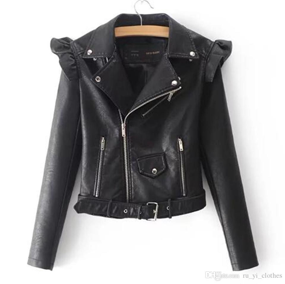 Женщины весной и осенью новый стиль аутентичные моды для похудения личности Европы и Соединенных Штатов отворот мотоцикла кожаное пальто / S-XL