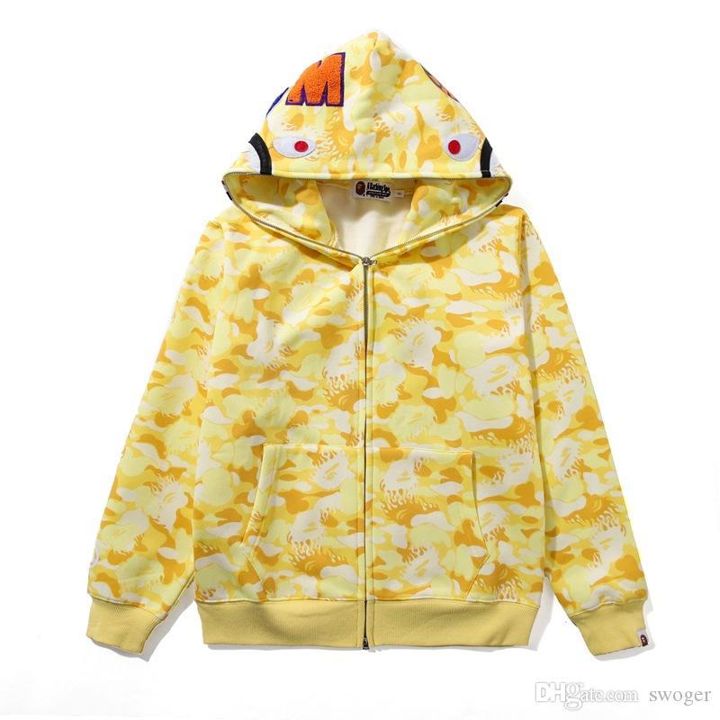 새로운 도착 남성 여성 카모 플러스 벨벳 스포츠 힙합 스웨터 연인 옐로우 블루 핑크 카모 후드 후드 자켓