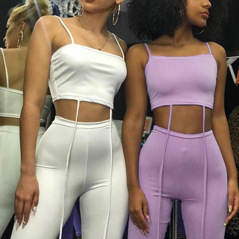 2020 Seksi İki Adet Bitki Üst Seti Kadınlar Beyaz Şort Giyim Streetwear Ensemble Femme Eşleştirme Setleri Kulübü Kıyafetler Femme Ciuchy