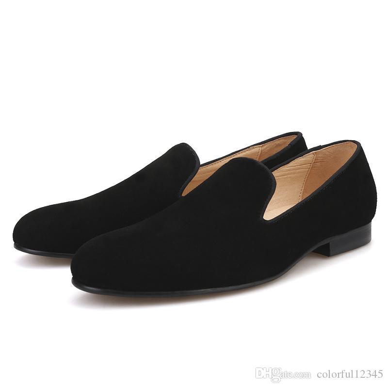 Yeni El Yapımı Siyah renkler erkekler süet ayakkabı İngiliz klasik tarzı erkekler sigara terlik deri astarı erkek loafer'lar