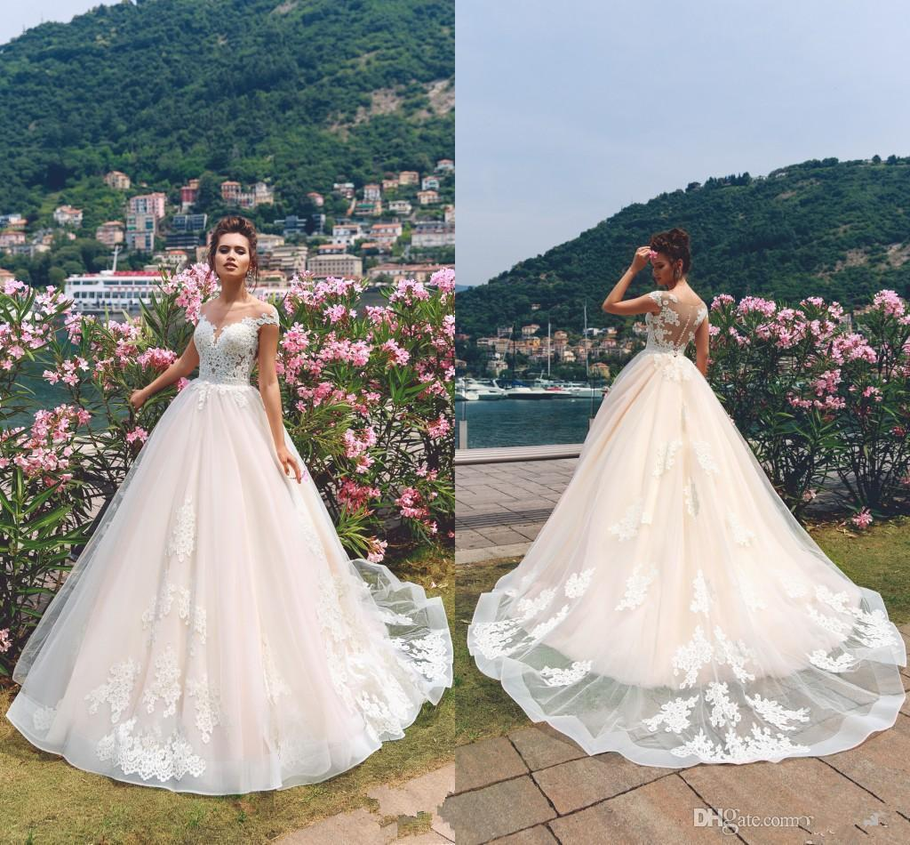 2018 Romantic Pink with White Lace Appliques Wedding Dresses A Line Cap Sleeve Sheer Neck Long Bridal Gowns CG01