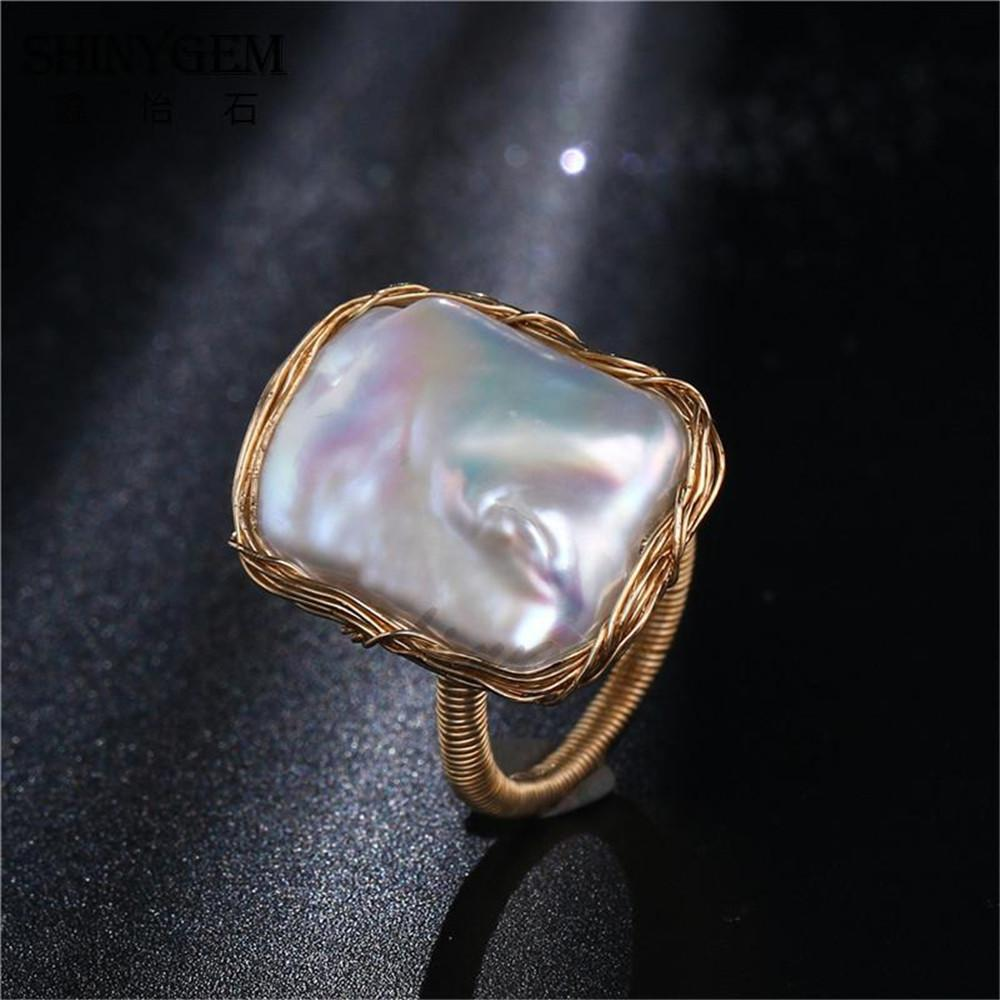 Sg Featured Handmade Square Pearl Rings Baroque Shaped Pearl Rings Gold Wire Wrapped Adjustable Wedding Rings For Women Jewelry Y19052301