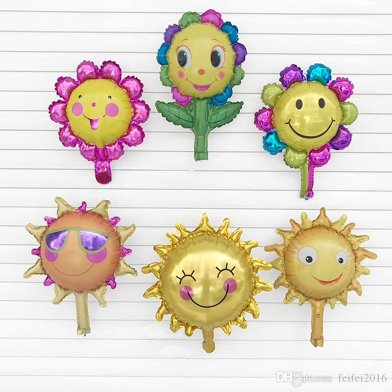 200PC mini Sun smile sunflower balloon air Aluminum foil balloon birthday party decorations kids toy baby shower Supplies