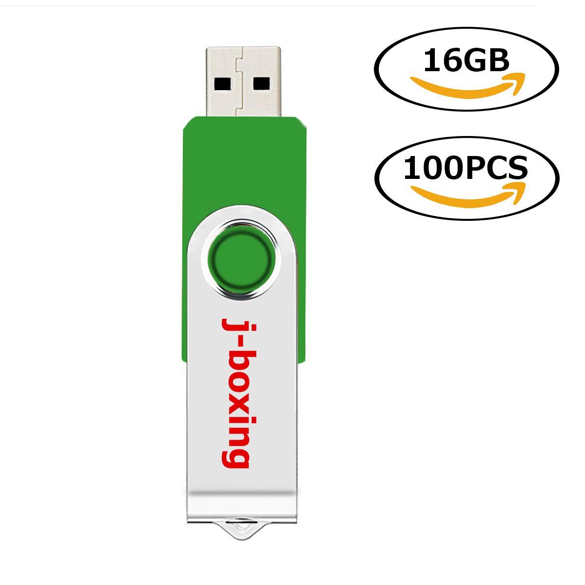 Toptan 100 ADET 16 GB USB Flash Sürücüler Metal Döner Flash Memory Stick PC Laptop Tablet Kalem Sürücü Başparmak Depolama için 10 Renkler Ücretsiz Kargo