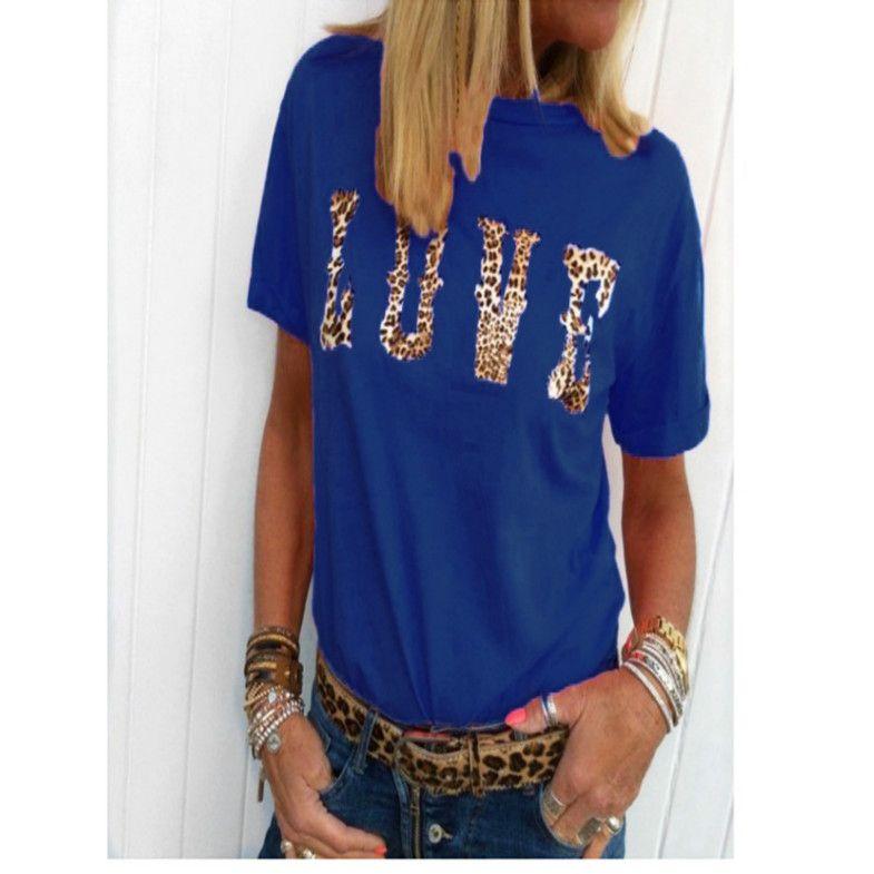 Le donne del progettista delle magliette di moda di lusso lettera stampata con la manica corta Leopard magliette estate delle donne di marca girocollo magliette T delle parti superiori Nuovo