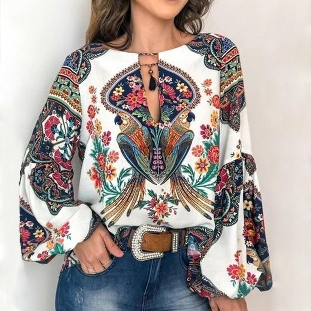Beiläufige Art und Weise Vintage Shirt Bluse Frauen mit Blumenmustern Laterne Hülse plus Größe Frauen Tops und Blusen mit V-Ausschnitt Blusas Mujer De Moda