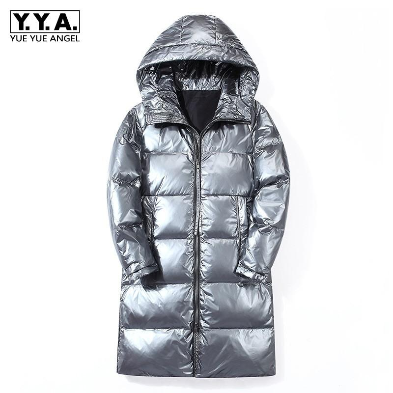 Fashion Silver Down Jacket Men Winter Thick Warm Hooded White Duck Down Coat Brand Casual Long Sleeve Zipper Outerwear M-3XL