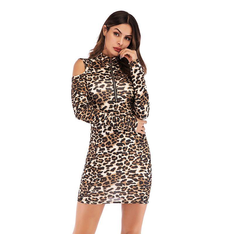 in stock Fashion Leopard Dresses Zipper Slim Bodycon Dresses Hollow Out on Shoulders Long Sleeve Women Dress Plus Size
