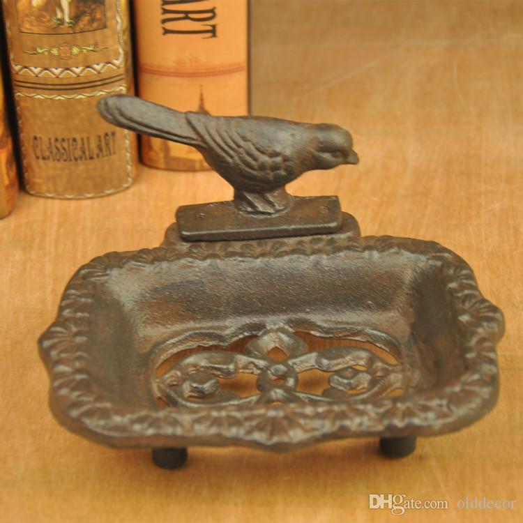 3 moldeada piezas decorativas Jabón Iron Bird sostenedor del jabón del plato estante de soporte adornado Baño Baño Cocina Decoración artesanales de metal Brown Animal