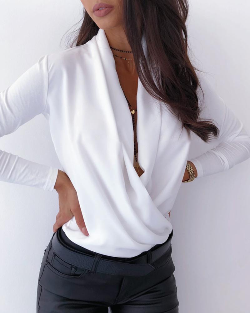 OL المرأة كم طويل عميق الخامس العنق بلوزات بلايز مثير كريسس الصليب جلد الثعبان العمل الأعمال الرسمي قميص أبلى الخريف MX200407
