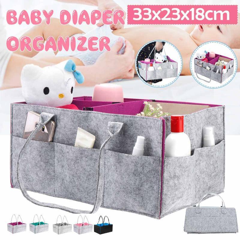 Saco do tecido do bebê Fralda Bag Diaper Caddy Organizer Titular portátil para Alterar caixas de Mesa e carro berçário Essentials Armazenamento