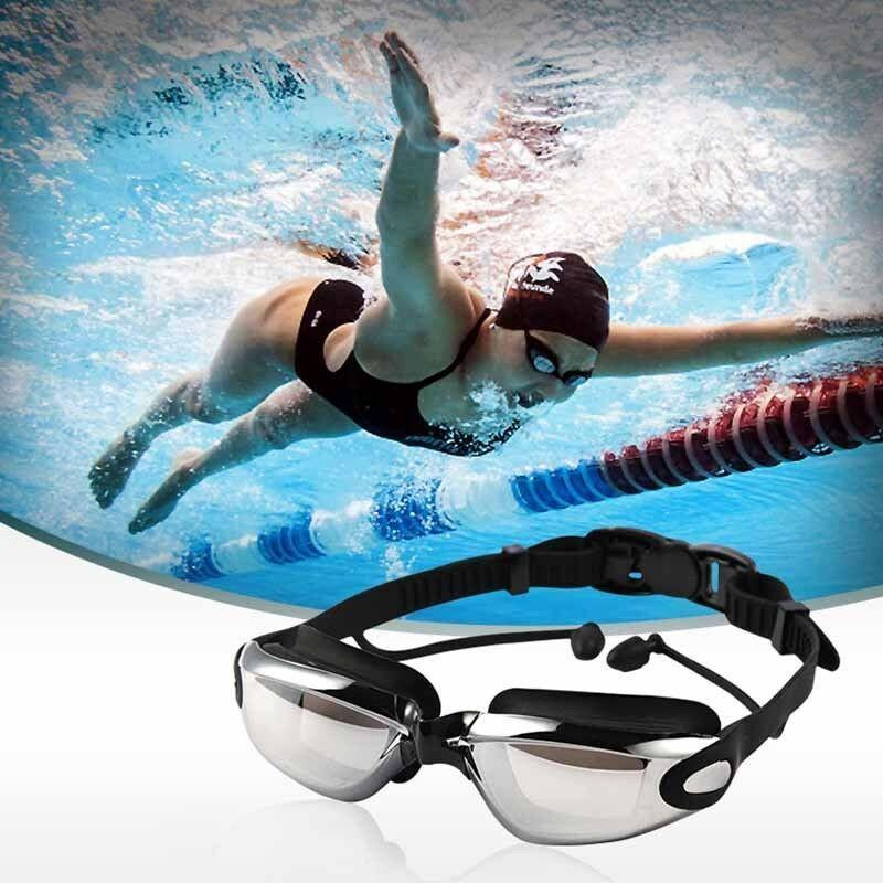 Occhialini da nuoto anti nebbia impermeabile di protezione UV di nuotata Occhiali con tappi per le orecchie Swimwear Eyewear Diving acqua Bicchieri regolabile