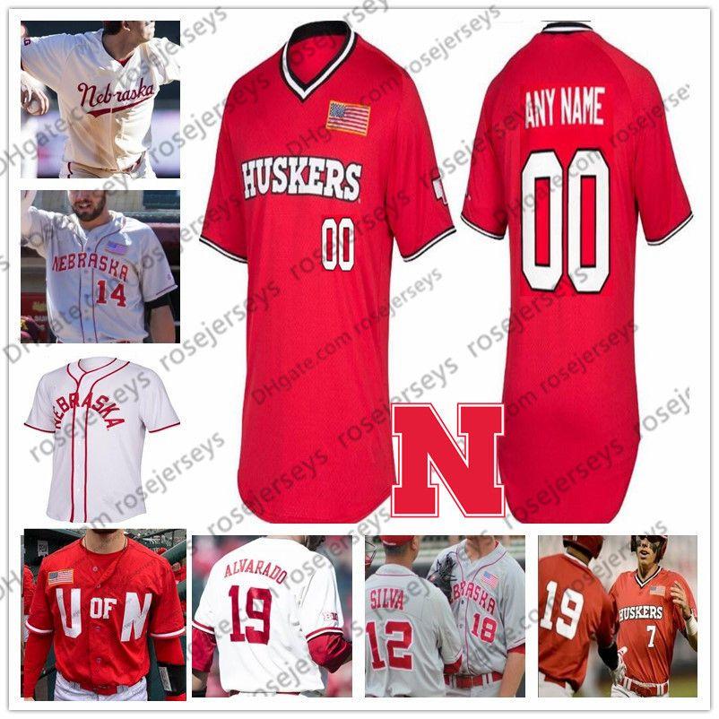 Personalizzato Nebraska Cornhuskers 2019 College Baseball Grigio Bianco Rosso cucita qualsiasi numero Nome 4 Alex Gordon 2 Jaxon Marchi Hallmark NCAA Jersey