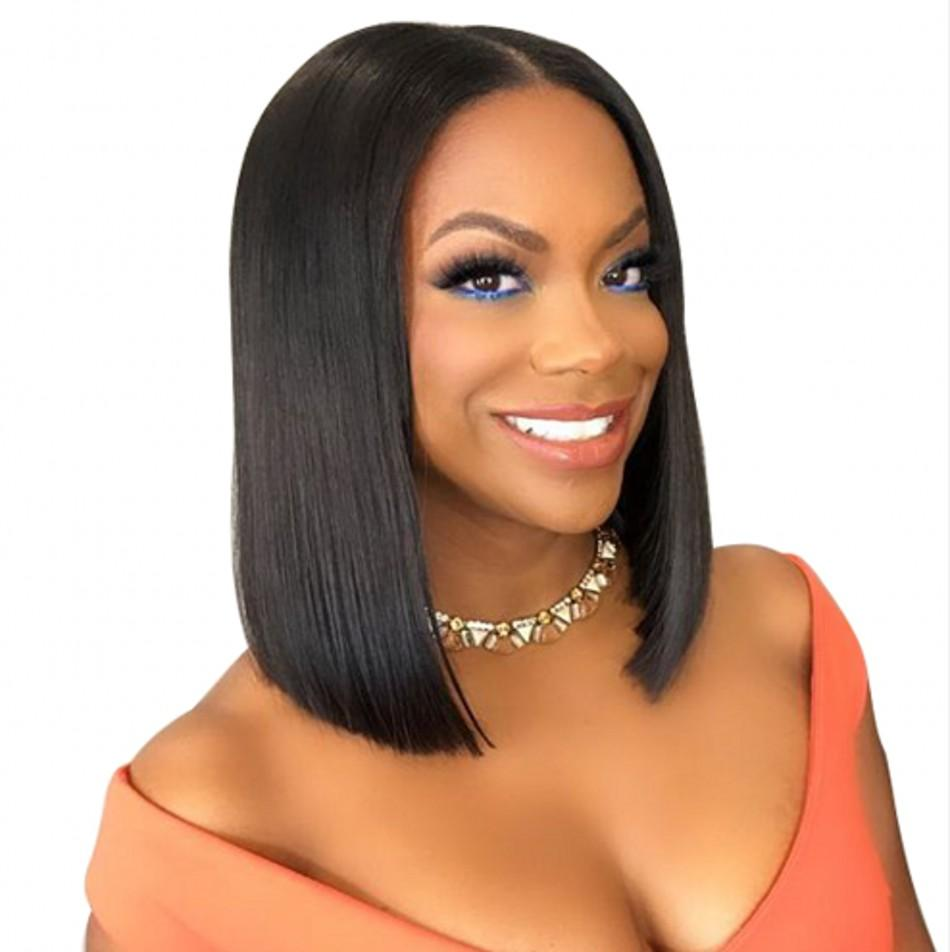 Glueless Lace Wigs Virgin Peruvian Full Lace Human Hair Bob Wigs Bleached Knots Straight Lace Front Wigs