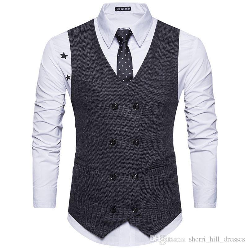 2020 Custom Made Tweed Men Suit Vest Khaki Formal Dress Suit Vest Woolen Fashion Slim Fit Waistcoat New Arrival