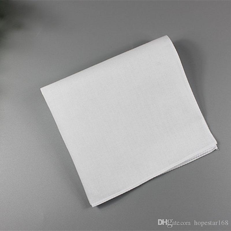 Pure White HANKERCHIEFS 100% coton Mouchoirs Femmes Hommes 28cm * 28cm Pocket Place mariage bricolage Plaine Imprimer Dessiner Mouchoirs