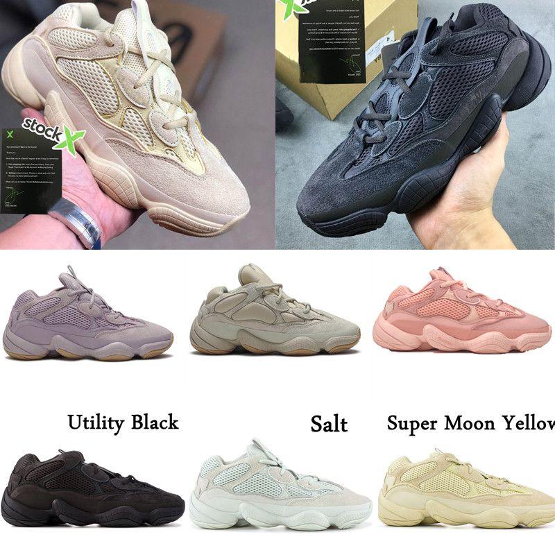 2020 Novo 500 pedra macia Running Shoes Visão Desert Rat Kanye West óssea Blush Branco Utility Black Salt Branco Homens Mulheres sapatilhas do desenhista
