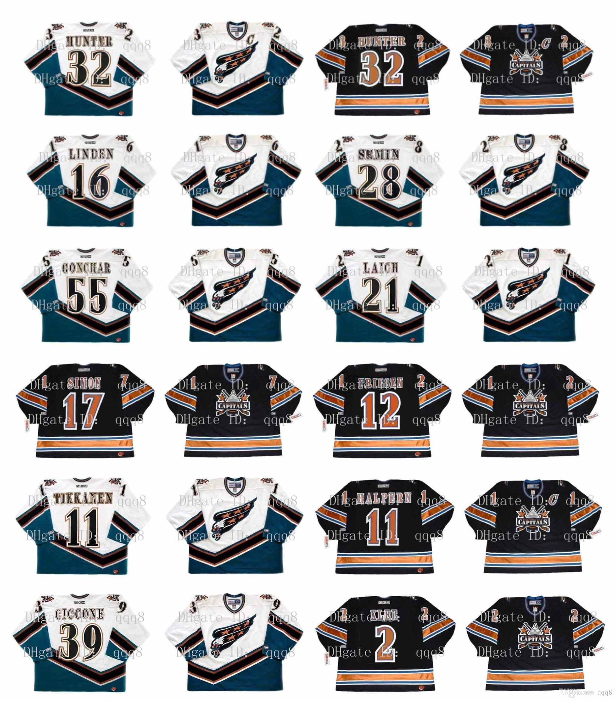 Washington Capitales de la vendimia Jersey 17 Chris Simon Jeff Friesen 12 11 11 Esa Tikkanen Jeff Halpern 39 Enrico Ciccone 2 Ken Klee hockey de encargo