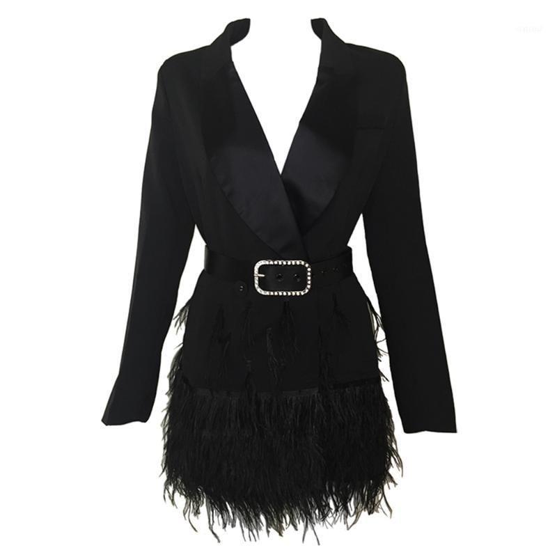2017 새로운 패션 여성 재킷 블랙 깃털 긴 소매 유명인 여성 벨트 1 우아한 재킷