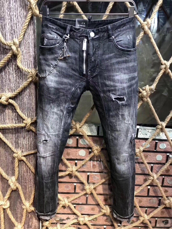 New Mens biker jeans Style D Mens Denim Jean Pants Holes Jeans Zipper Motorcycle biker Men Pants Trousers