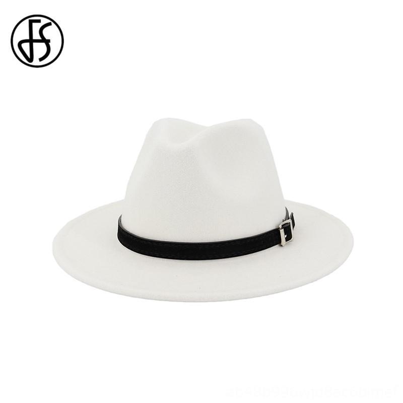 FS Bianco Feltro di lana del cappello di jazz donne degli uomini larghi del bordo di lana invernali Fedora Panama Cappelli cappelli, Sciarpe Guanti Trilby Cap con cintura Par