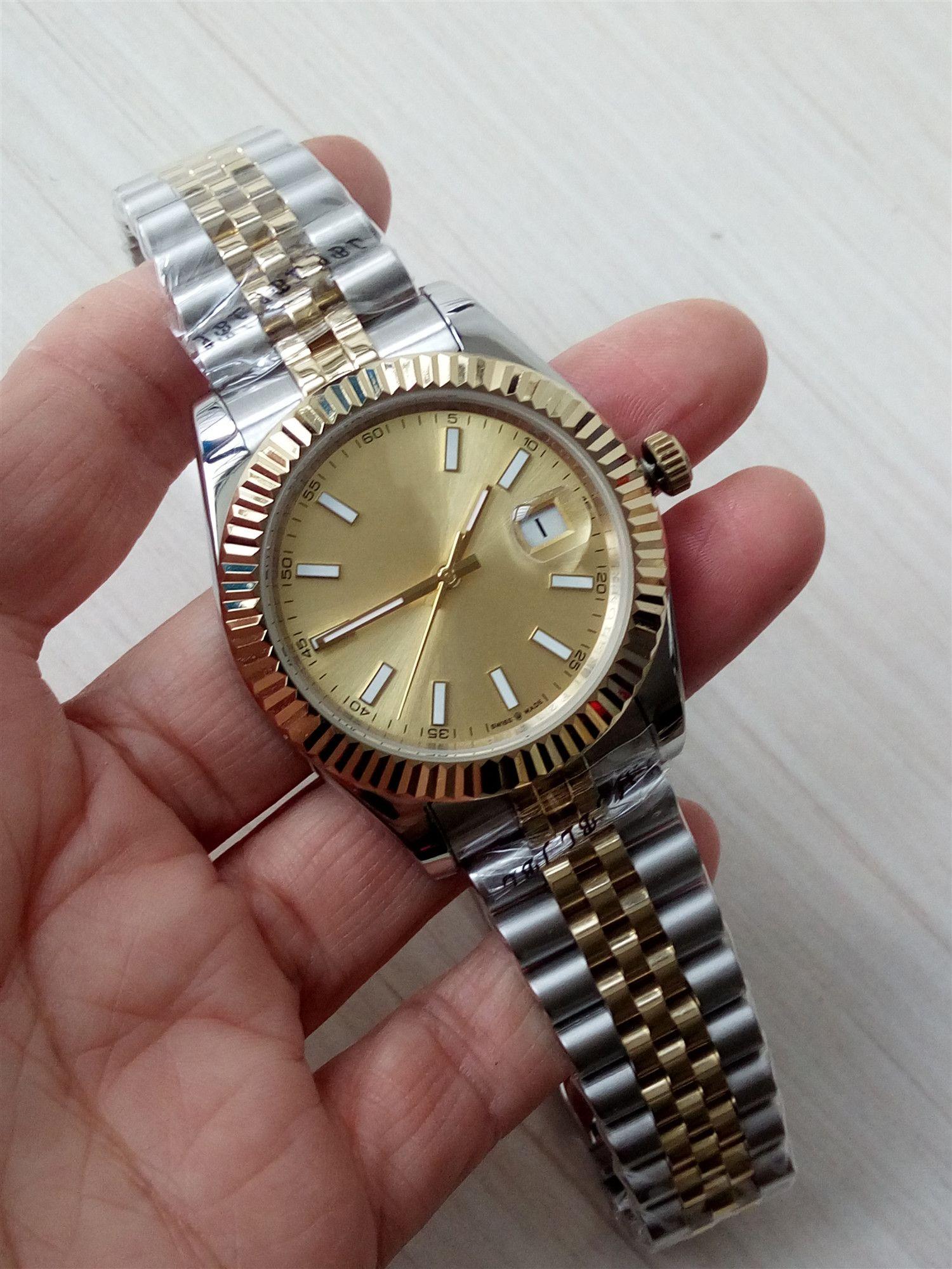 Männer Qualität Uhr 41MM 126333 ASIA 2813 Bewegung Gold 18K Gold FuchsiaDial Two Tone Gold Armreifen Automatische Uhruhrmanmannuhr