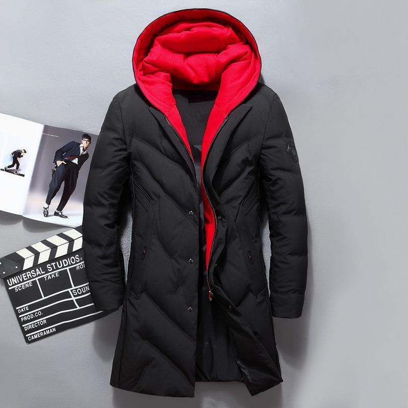 Herren Weiße Ente Parka Winter Fashion Jacke Fälschung zwei Stücke mit Kapuze lange Padded Mäntel Mann unten Overcoat JK-8908
