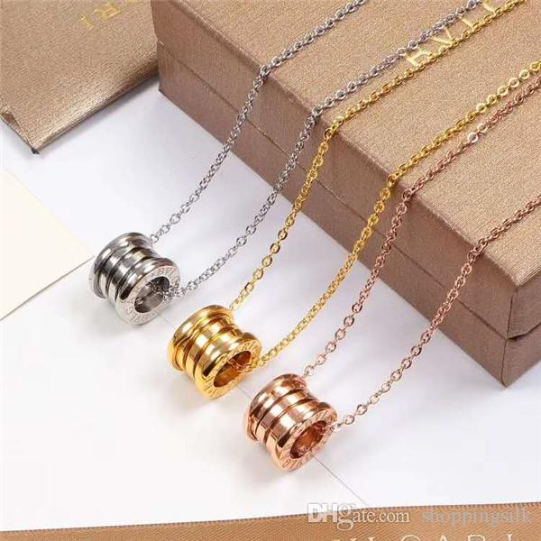 Sell 14K gold ceramic spring necklace, male and female couples star clavicle chain pendant titanium steel wholesale