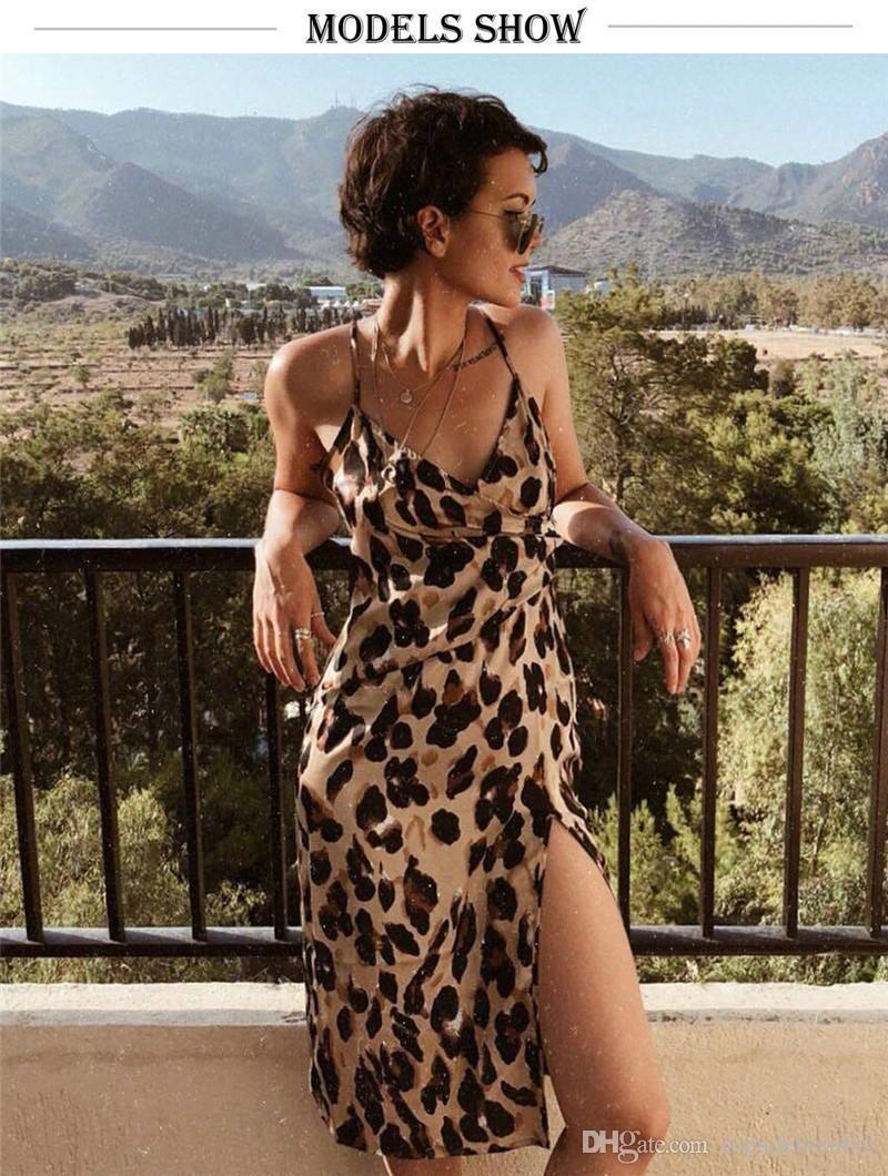 Leopard-Frauen-Sommer-Kleider Sexy Split Peplum Spaghetti-Bügel-Midi-Kleider Art und Weise beiläufige Damenmode