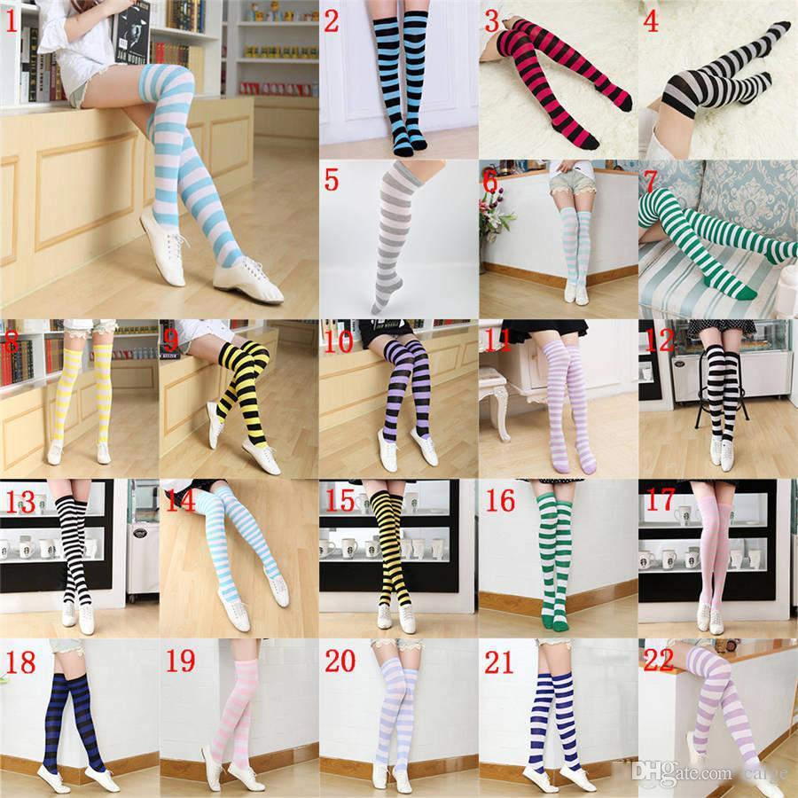 22 couleurs à rayures genou Chaussettes pour Big Girls Adult Style Japonais Zèbre Cuissardes Chaussettes Printemps Bas 2pcs / paire