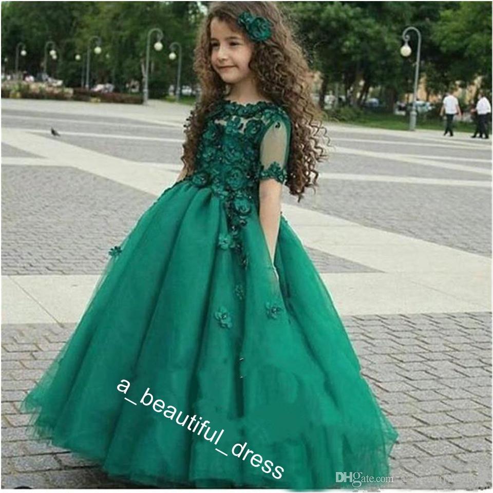 Cute Emerald Green Girls Pageant Gowns Sheer Short Sleeves Princess Ball Gown Kids Formal Dresses Wear Flower Girl Dresses forWedding FG1285
