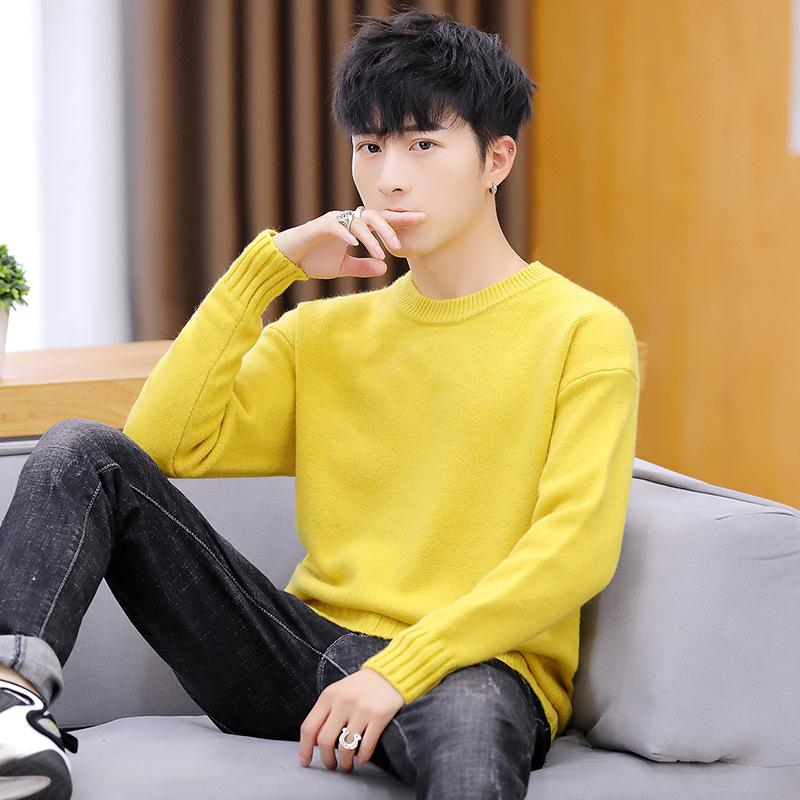 2020 Long Sleeve Sweater Men Purple Khaki Black Blue O Neck Winter White Yellow Red Solid Thick Pullovers Casual Mens Sweaters From Jilihua, $30.41 |