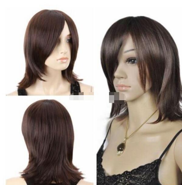 ENVÍO GRATIS + ++ Moda Medio Marrón Largo Pelucas de las mujeres rectas Lady Hair Halloween Cosplay Pelucas