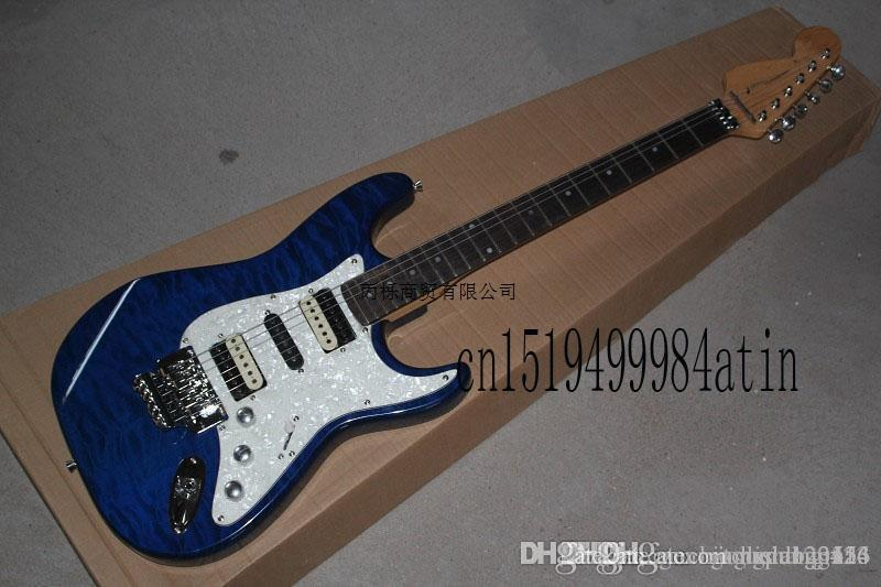 Free shipping Top quality st custom body Floyd rose tremolo electric guitar White pickguard electric guitar