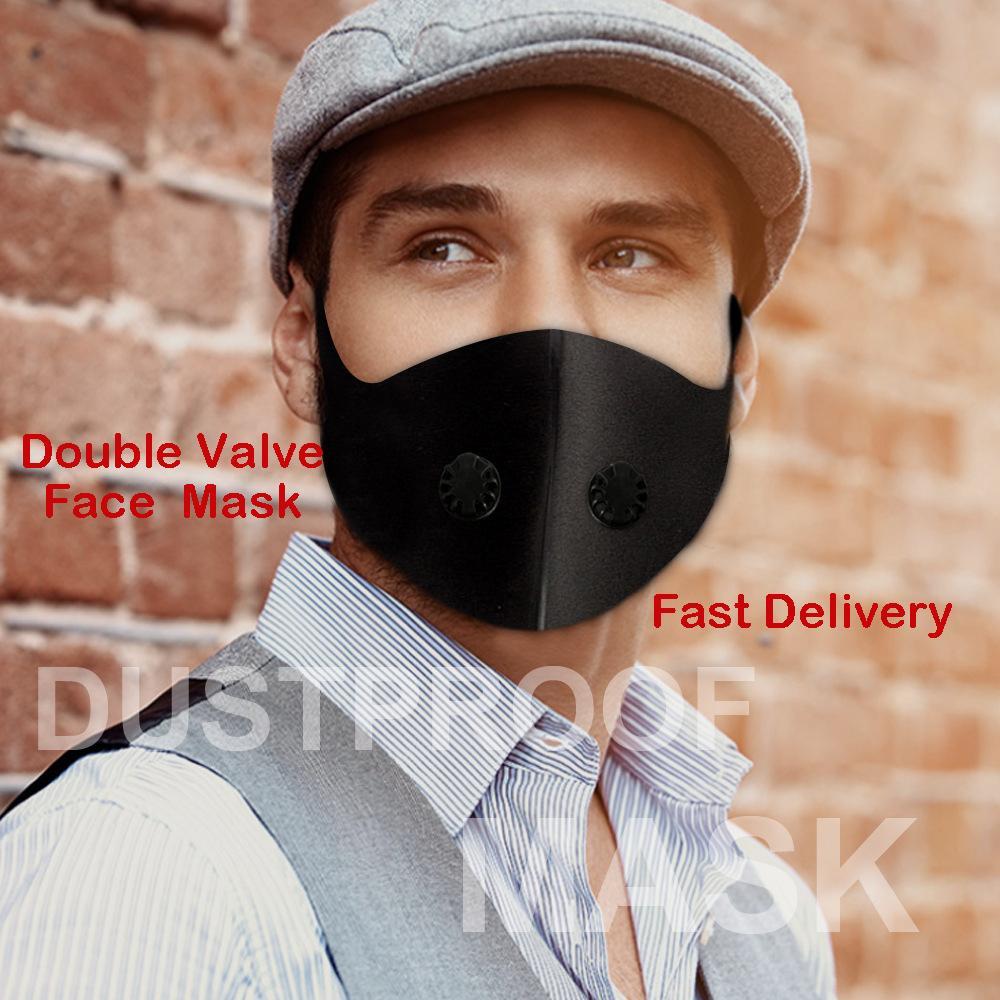 الجملة صمام مزدوج أقنعة PM 2.5 الهواء تنقية قناع الوجه قابل للغسل الفم غط تصفية مكافحة أقنعة الغبار الضباب التنفس الوجه الأسود الساخن