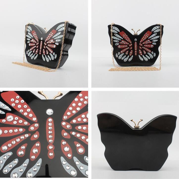 Fabbrica sacchetto del pranzo nuovo acrilico sacchetto scatola dura mano di strada di tendenza diamante estate catena borsa donne farfalla simpatico cartone animato donne all'ingrosso borsa