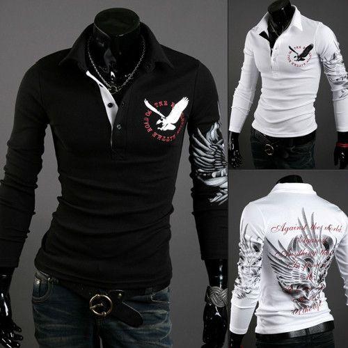 diseñador 20ss tapas de los hombres nueva camisa de manga larga otoño moda europea del estilo del tatuaje de Eagle Impreso Silm apto de la camisa 3 colores al por mayor